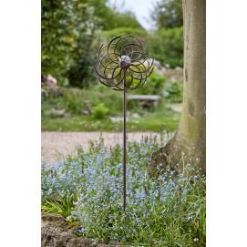 Eolienne décorative de jardin en métal et solaire double hélice