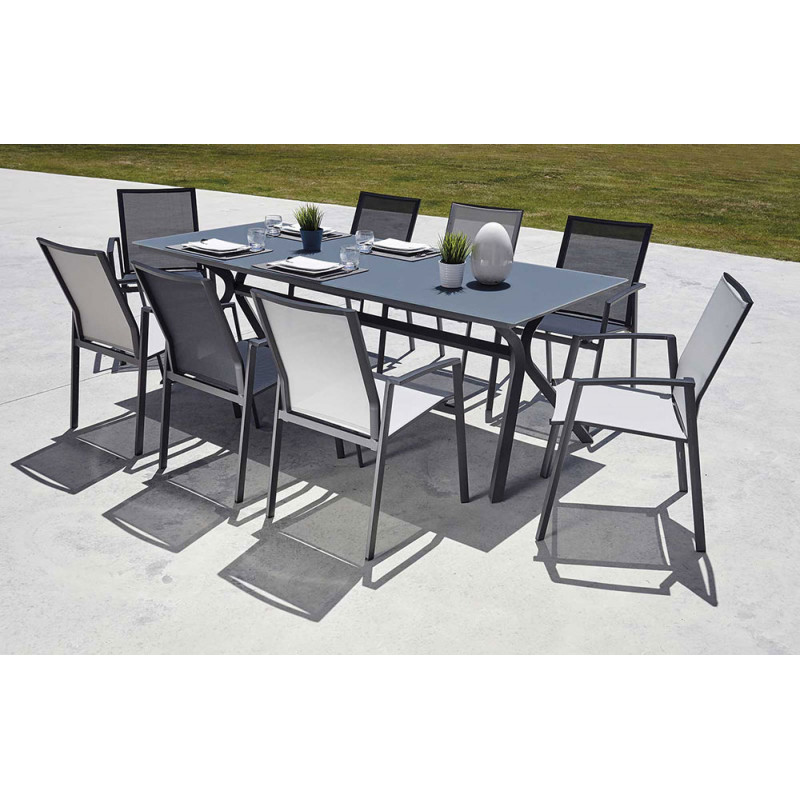 Ensemble table et chaise de jardin en aluminum et verre gris anthracite - Ensemble chaise et table ...