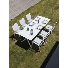 Ensemble table et chaise de jardin en aluminium et verre blanc Albi