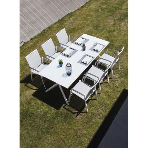Ensemble table et chaise de jardin en alu et verre blanc Albi