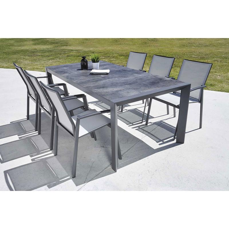 ensemble table et chaise de jardin en aluminium gris. Black Bedroom Furniture Sets. Home Design Ideas