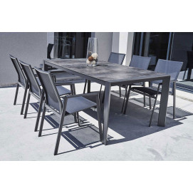 Ensemble table et chaise de jardin en alu gris Athenes