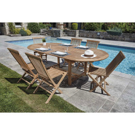 Ensemble table et chaise de jardin Teck