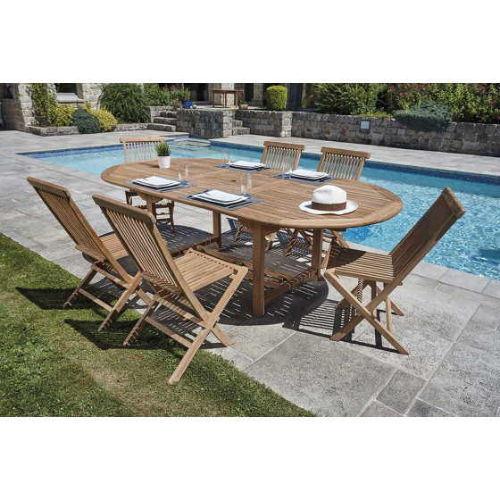 Ensemble table et chaise de jardin en teck