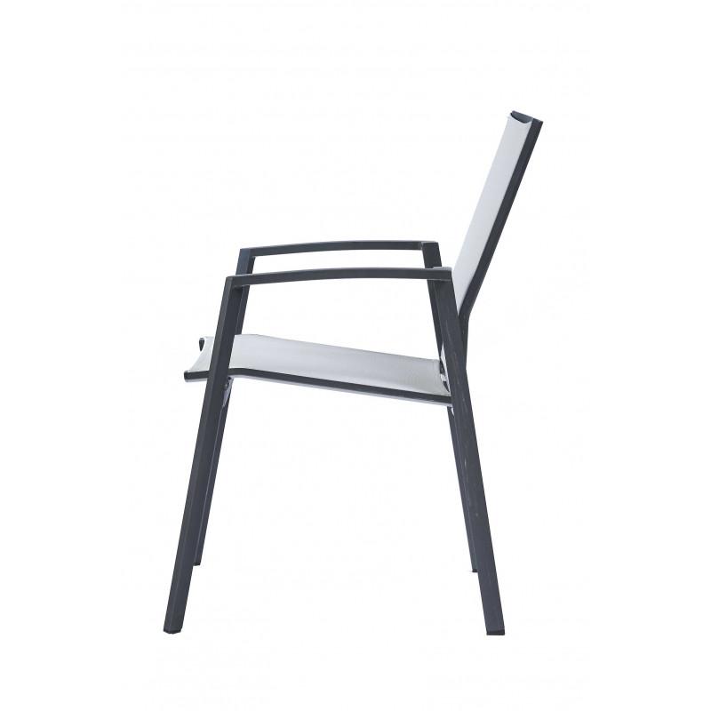 Ensemble Table Et Chaise De Jardin En Aluminum Et Verre Gris Anthracite