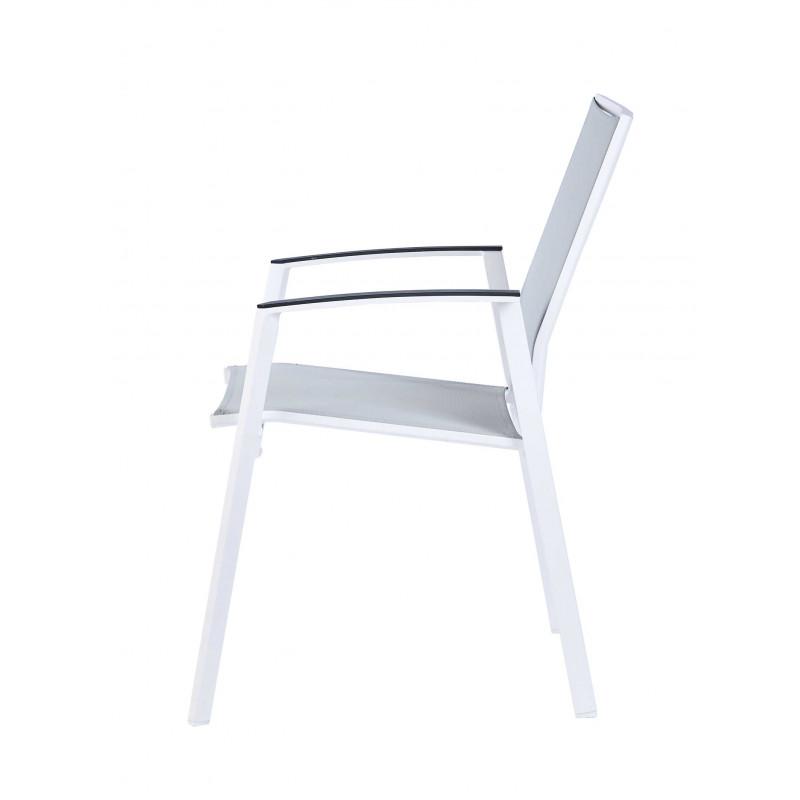 Ensemble table et chaise de jardin en aluminum et verre blanc - Table de jardin aluminium blanc et verre ...