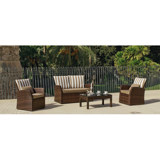 Salon de jardin en r sine tress e marron 4 places jardin - Salon de jardin resine tressee marron ...
