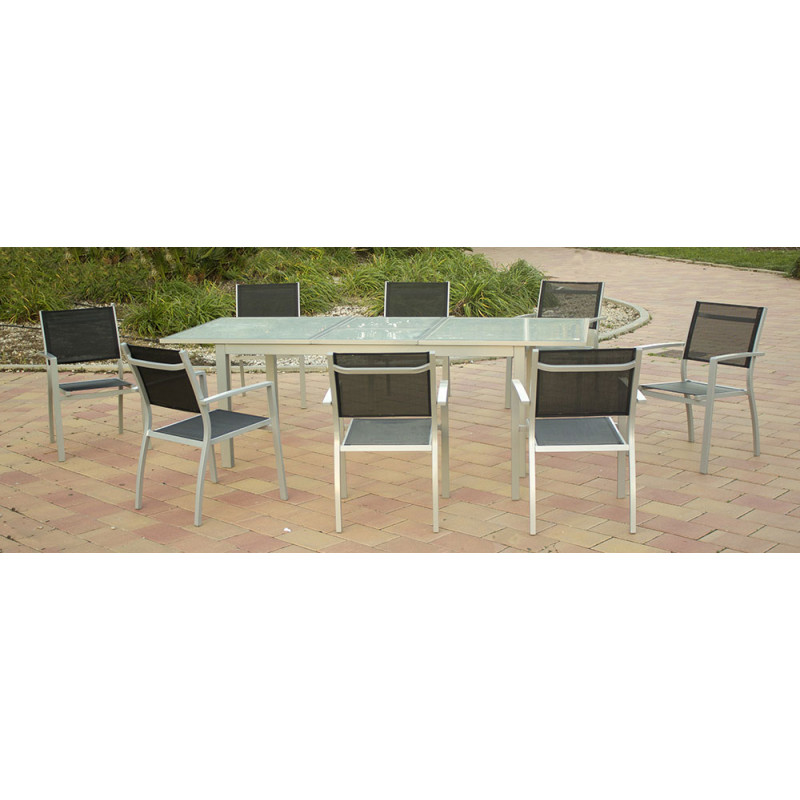 Ensemble table de jardin extensible et 8 chaises en aluminium gris for Table jardin et chaise