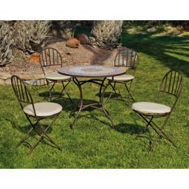 Table de jardin mosaique ton bleu et 4 chaises en fer forgé