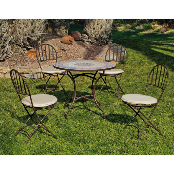 table de jardin mosaique et 4 chaises en fer forg jardin et saisons. Black Bedroom Furniture Sets. Home Design Ideas
