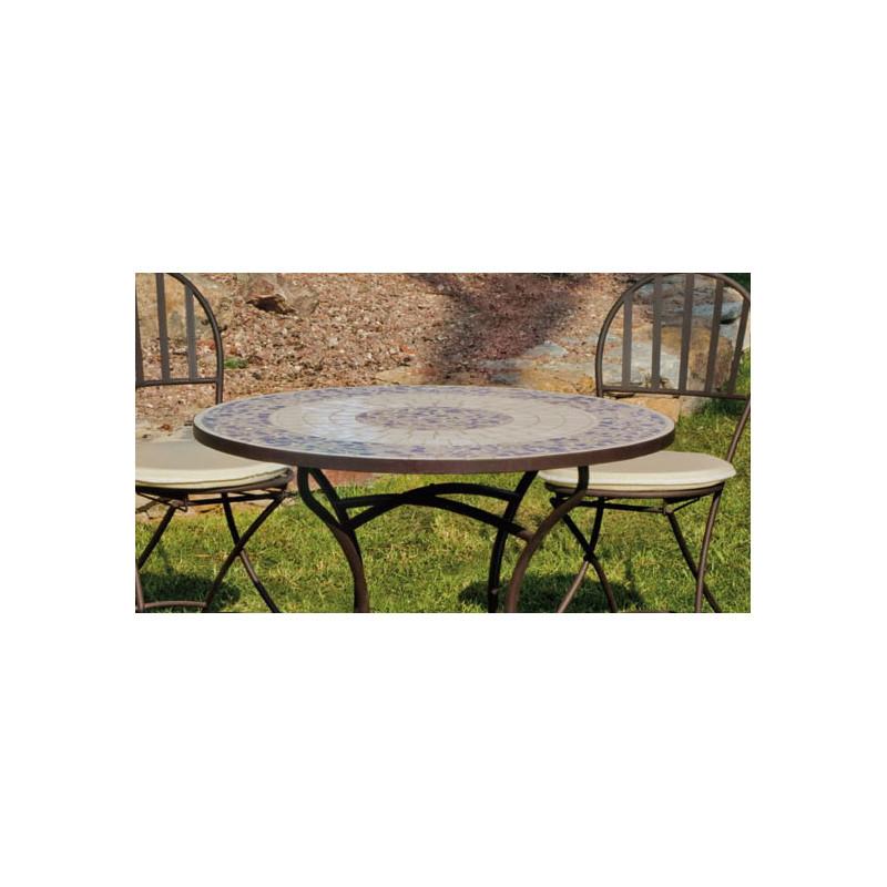 table de jardin mosaique et 4 chaises en fer forg jardin et saisons. Black Bedroom Furniture Sets. Home Design Ideas