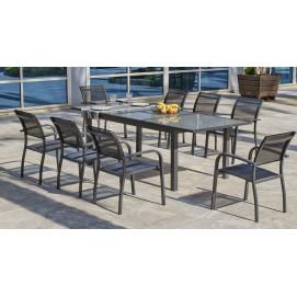 Ensemble table de jardin extensible et chaise en aluminum gris Grecio