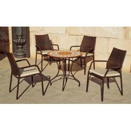 Table de jardin mosaïque ton pierre et beige et 4 fauteuils en résine tressée