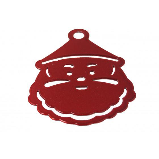 Père Noël en métal rouge vernis 5 x 6,5 cm (les 3)