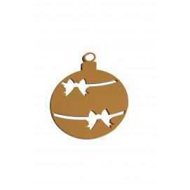 Boules de Noël en métal doré 8 x 10 cm (les 3)