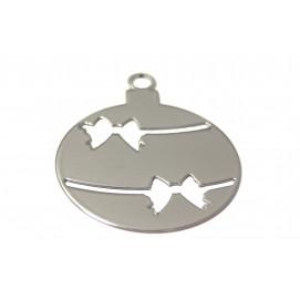 Boules de Noël en métal chromé 8 x 10 cm (les 3)