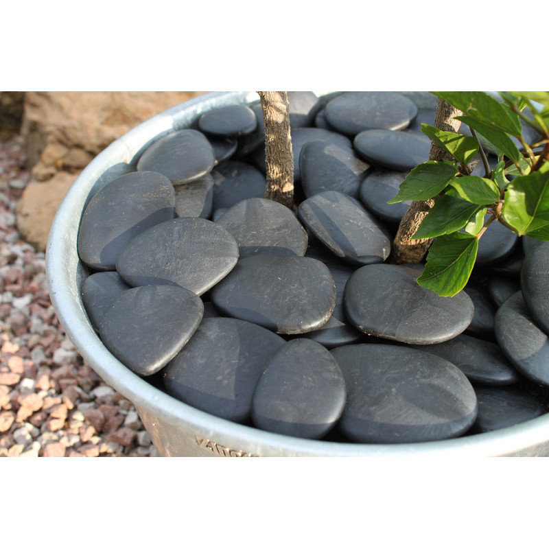 Galet de jardin décoratif noir en plastique recyclé diamètre ...