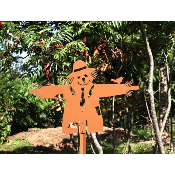 Epouvantail de jardin en acier marron hauteur 50 cm