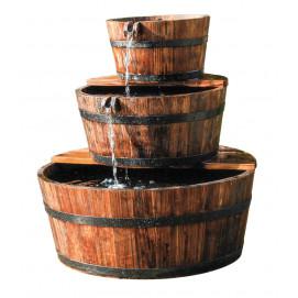 Fontaine de Jardin en bois 3 tonneaux