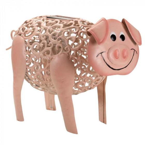 Cochon Decoratif Solaire En Metal Peint
