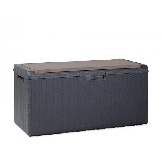 Coffre de rangement exterieur resine tressee gris 350 L avec coussin