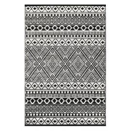 Tapis d'extérieur pour terrasse noir et blanc 120 x 180 cm