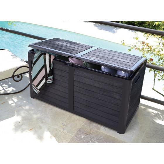 Coffre de jardin en plastique 420 litres gris anthracite ou taupe