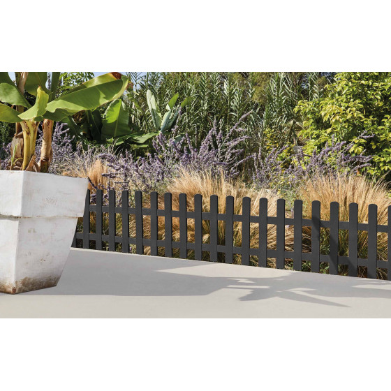 Bordure de jardin en plastique gris anthracite H 40 cm