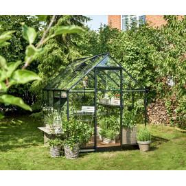 Serre de jardin en verre et aluminium noir 5,1 m²