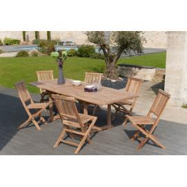 Table en teck extensible rectangulaire et 6 chaises de jardin en teck