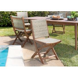 2 chaises pliantes en acacia et imitation rotin