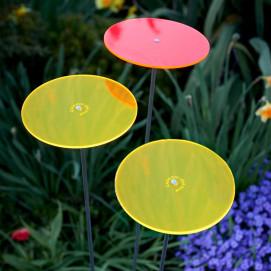 Attrape soleil de jardin Cazador Del Sol 2 disques de fleur jaune et 1 rouge