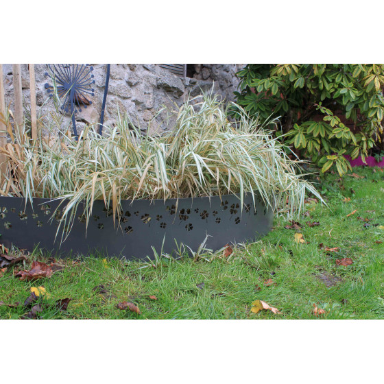 Bordure de jardin en acier gris titane trèfle H 25 cm