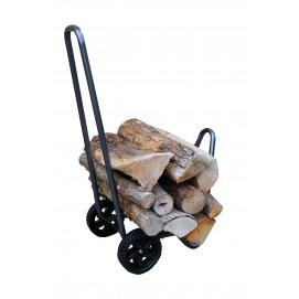 chariot porte buche en acier gris et 2 roues