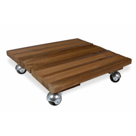 Porte plante à roulettes en bois carré 40 cm