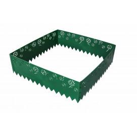 Bordure de jardin en plastique vert motif fleuri H 22 cm