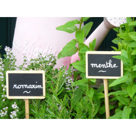 Etiquette de jardin en bois à planter (10) + marqueur
