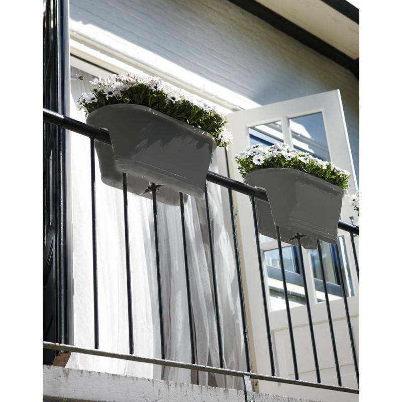 Jardini re de balcon corsica gris anthracite chez jardin for Jardiniere double pour balcon